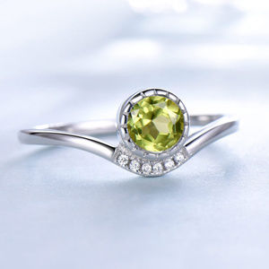 925 Sterling Silver Green Peridot Anniversary Ring